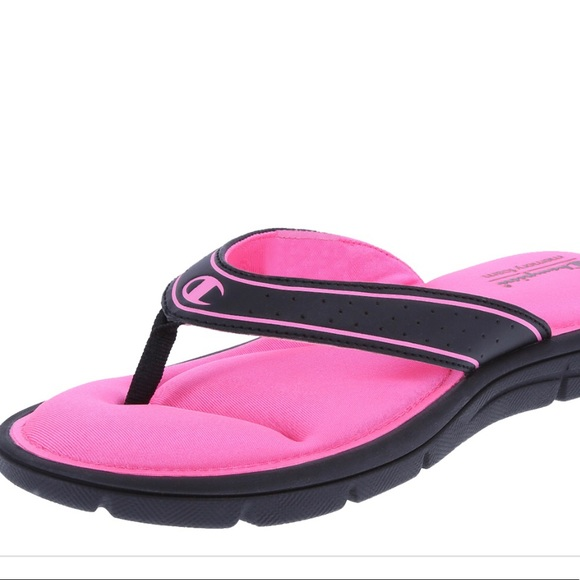 1418b4dc040930 Women s Pink and Black Champion Foam Flip Flop
